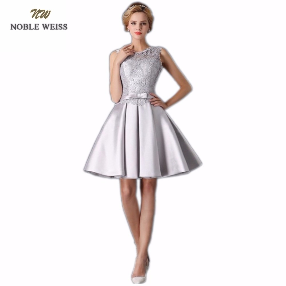 NOBLE WEISS Mini Lace   Prom     Dress   Customized Fashion O-Neck Lace-up Back Satin A-Line Party Gown   Dresses