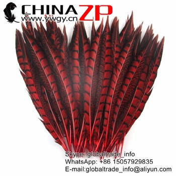 CHINAZP Feathersy 30 to 35cm Exporting Select Quality  Red Dyed Lady Amherst Pheasant Feathers for DIY Craft Decoration