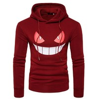 New Hoodies Print Tops Extra Large Pocket Hoodie Print Smiley Clothes Casual Fresh Hoodie Male Sudaderas