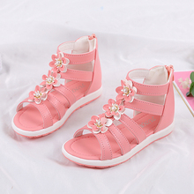 Children Shoes Baby Girls Sandals Fashion Summer Shoe Floral Simple Roman Shoes  Soft Sandals For Princess