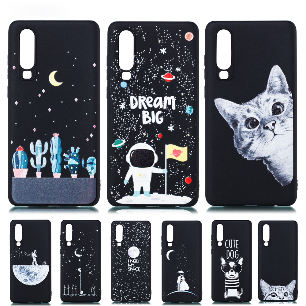 Ultra Thin Black Cover for Huawei P30 Pro 3D Painted Starry Sky Silicone Soft Case For  P30Lite Matte