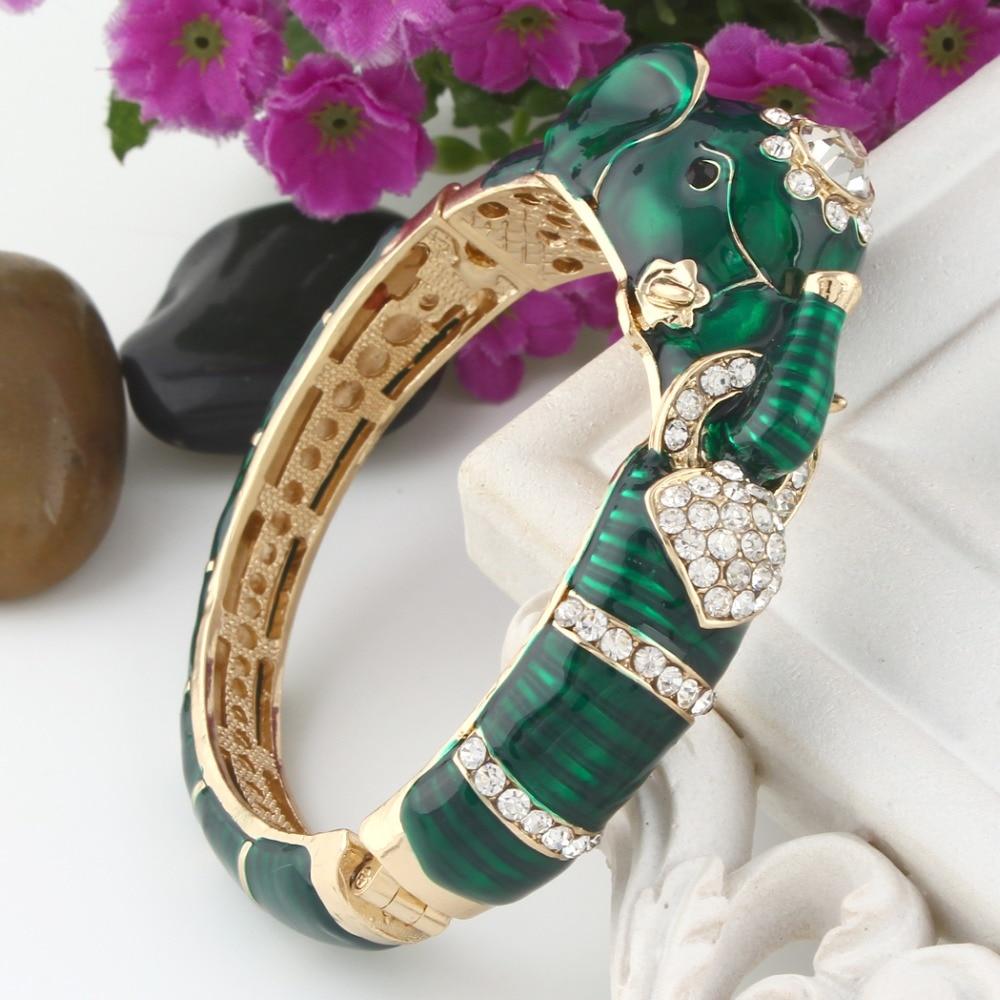 Bella Fashion 3 Colors Enamel Elephant Animal Bangle Austrian Crystal Bracelets & Bangles Gold Tone For Women Party Jewelry Gift