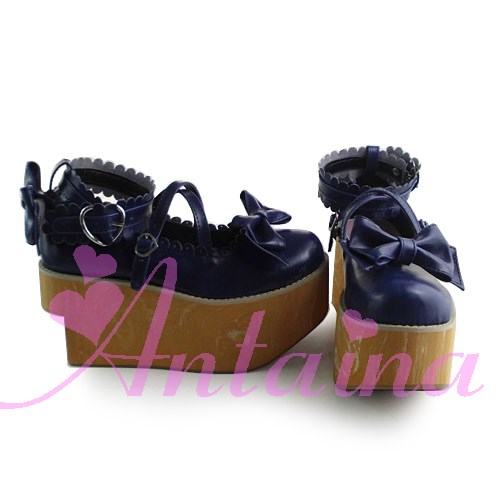 Princess sweet lolita gothic lolita shoes custom Wood platform antenna nana shoes 1010 princess sweet lolita gothic lolita shoes custom harajuku platform zipper style 9826 black