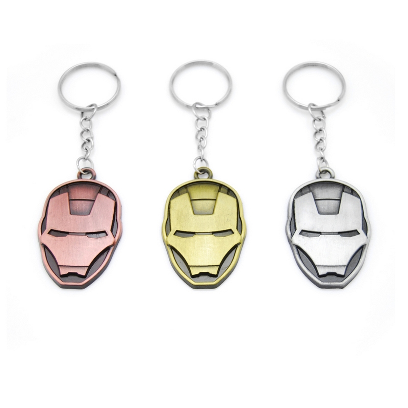 New Brand Comics Super Hero Avengers Iron Man Mask Metal KeyRings Key Chains Purse Bag Buckle Key Keychains Holder Accessories in Key Chains from Jewelry Accessories