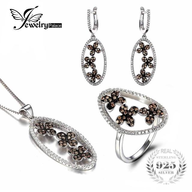 Jewelrypalace luxo projeto da folha do trevo de jóias conjunto anel brinco pingente e 45 cm cadeia flor forma 925 jóias de prata esterlina