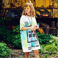 2016 Fashion T Shirt Woman Letters LOGO Punk Style Hip Hop Tee Shirt Femme Women Tops Loose Harajuku Long T Shirt Dress