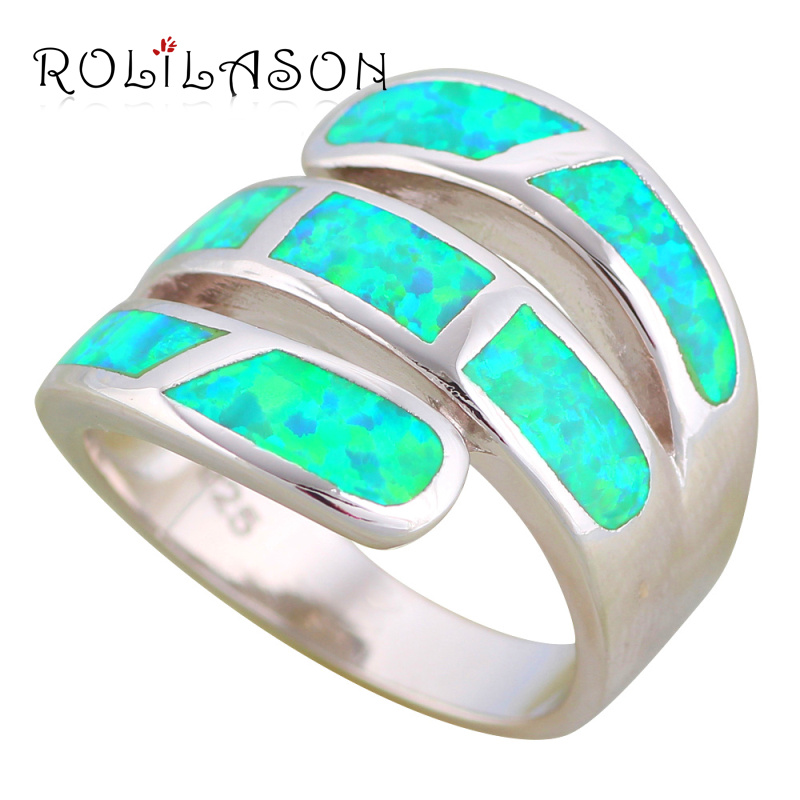 ROLILASON Gorgeous Rings for Women Green Fire Opal High Quality 925 Silver Fashion Jewelry Rings USA