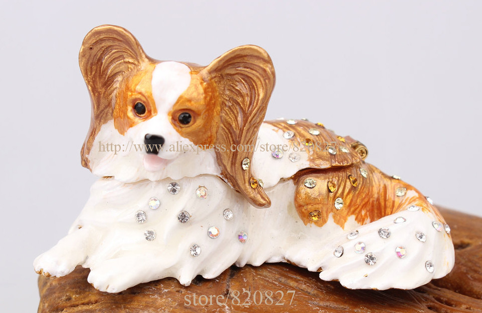 PAPILLON PEWTER BEJEWELED HINGED TRINKET BOX Papillon Dog Figurine Rhinestone Enamel Trinket Hinged Gift jewelry Box