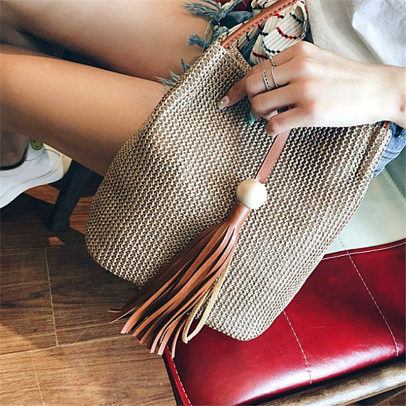 Brand Women Buckets Bag Fashion Shoulder Bags High Quality Handbag Large Capacity Tote Female Crossbody Bag New Straw Package
