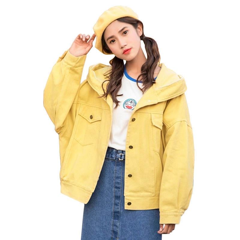 2019 New Spring Long Sleeve Denim Jacket Women Hooded Coat Fashion Harajuku Style Basic Jackets Loose Casual Women Jacket