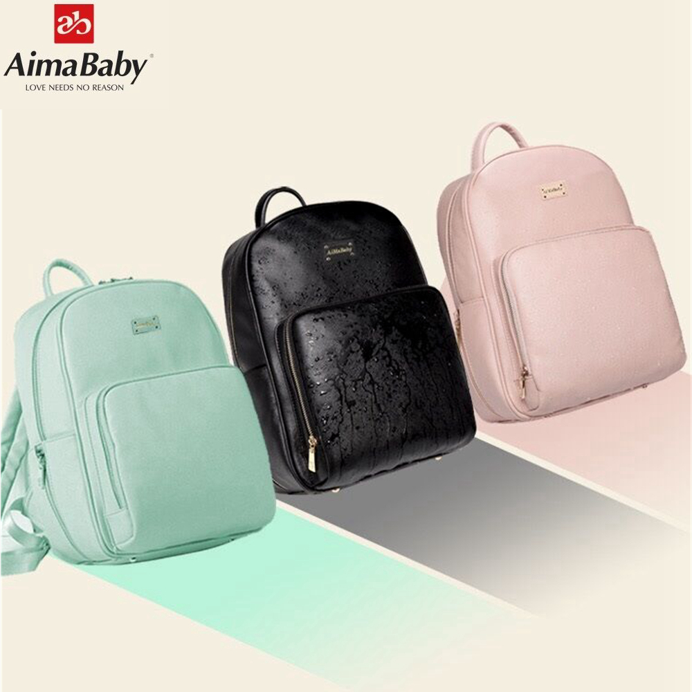 Aimababy PU Leather Baby Organizer Tote Diaper Bag Mom Backpack Mother Maternity Bags Changing Pad Wet