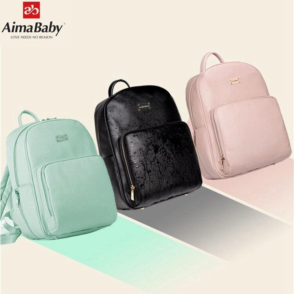 Aimababy PU ādas bērnu soma organizators Tote autiņbiksīšu somas mammas mugursoma mātes maternitātes somas autiņbiksīšu mugursoma