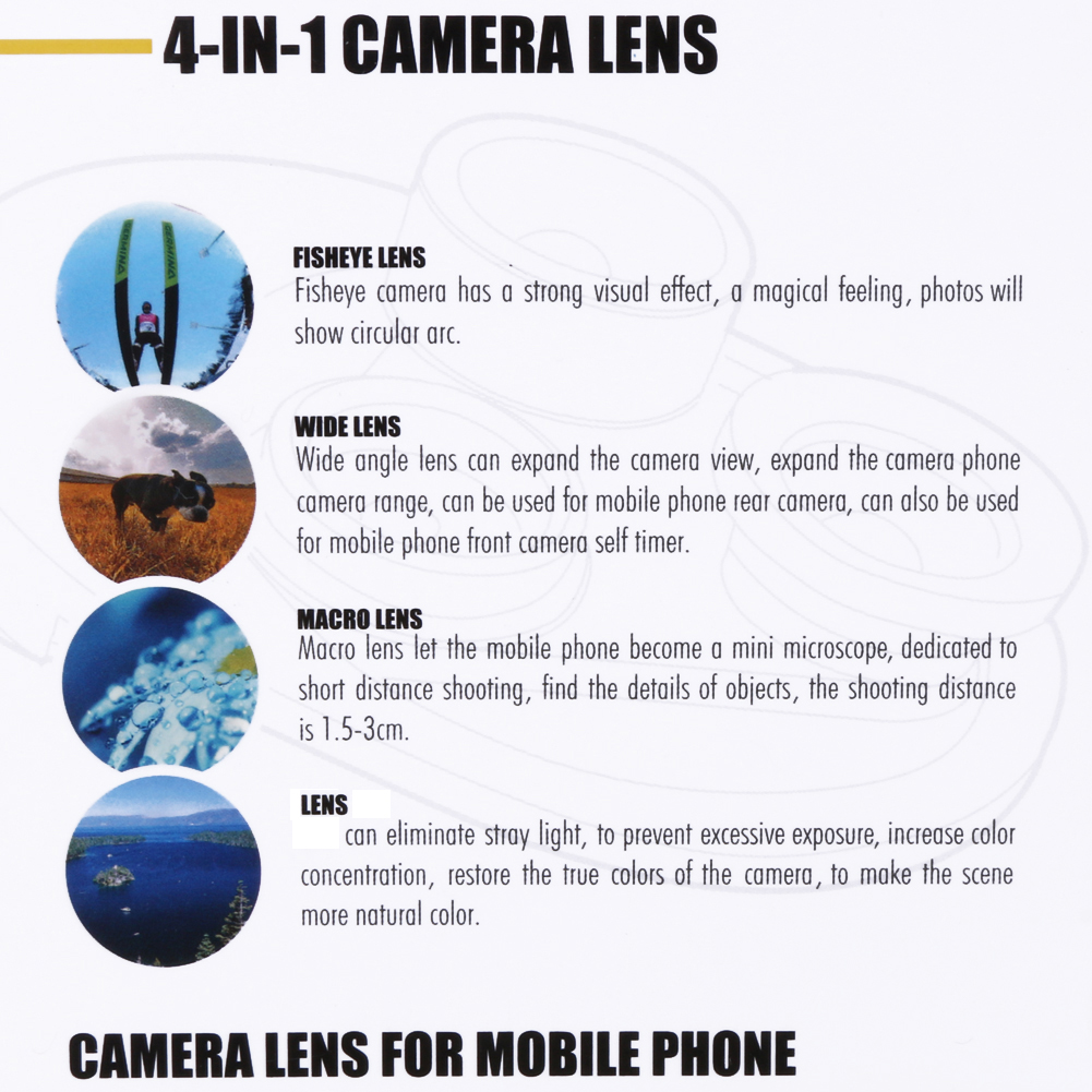 4 in 1 Cell Phone Clip-on Camera 198 Degree Fisheye Fish Eye Lens 0.63X Wide Angle 15X Macro Mobile Phone Lens Kit For iPhone 7