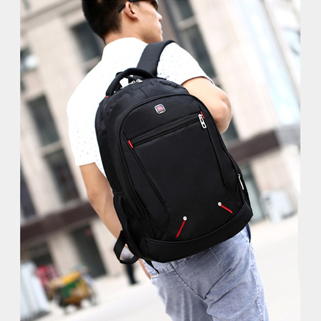 Casual Solid Color Material Oxford Man's Backpack Multi-functional Large-capacity Student Schoolbag Simple Bag 3