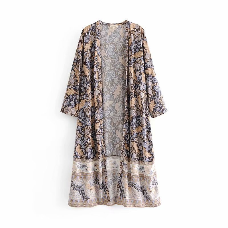 Jackets & Coats Women's Clothing Hot Sale Djf48-8222 European And American Fashion Orientation Printed Long Kimono