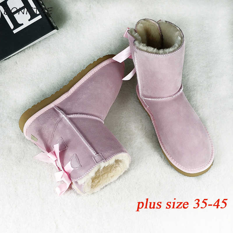 6e393c1ee8 Boots Women Fur Warm Fashion Thick Plush Australia Ugly Snow Shoes Plus  Size 45 Winter Students Casual Womens Lovely Riband Red