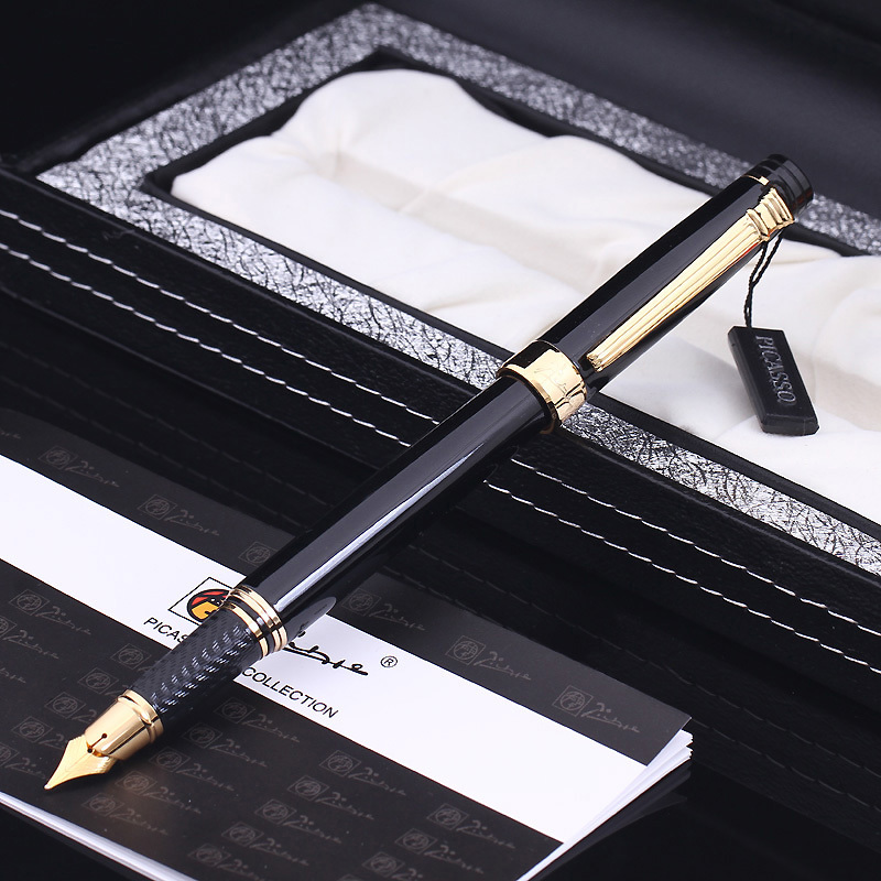 Picasso Fountain Pen Ink Pens Calligraphy Practice Writing Business Pens Office School Supplies With Gift Box picasso emotion of rome fountain pen ink pens black with gold silver clip writing calligraphy f nib business office gift set