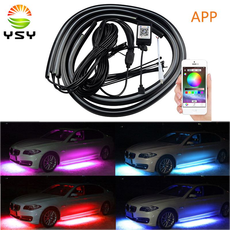 4PCS APP Control Car Flexible LED Strip Decorative Atmosphere LED RGB Under Car Glow Underbody Lights System Neon Lights Kit