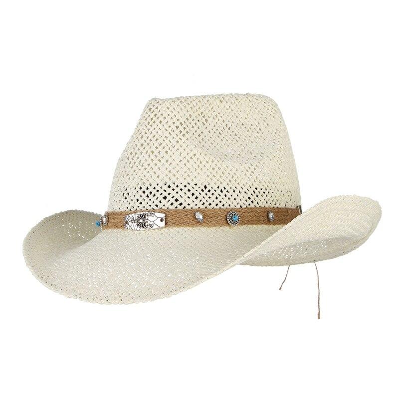 49bfceb49eda9 Gemvie Women Hollow Out Western Style Straw Cowboy Cowgirl Hat Fedora Cap