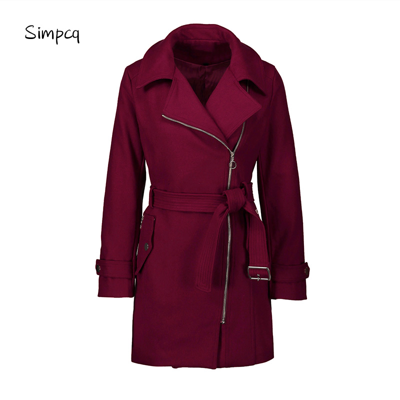 Slim Casaco Feminino Worsted Solid Button Zippers Trench Coat Winter Double Sizes Warm Classic Windbreaker For