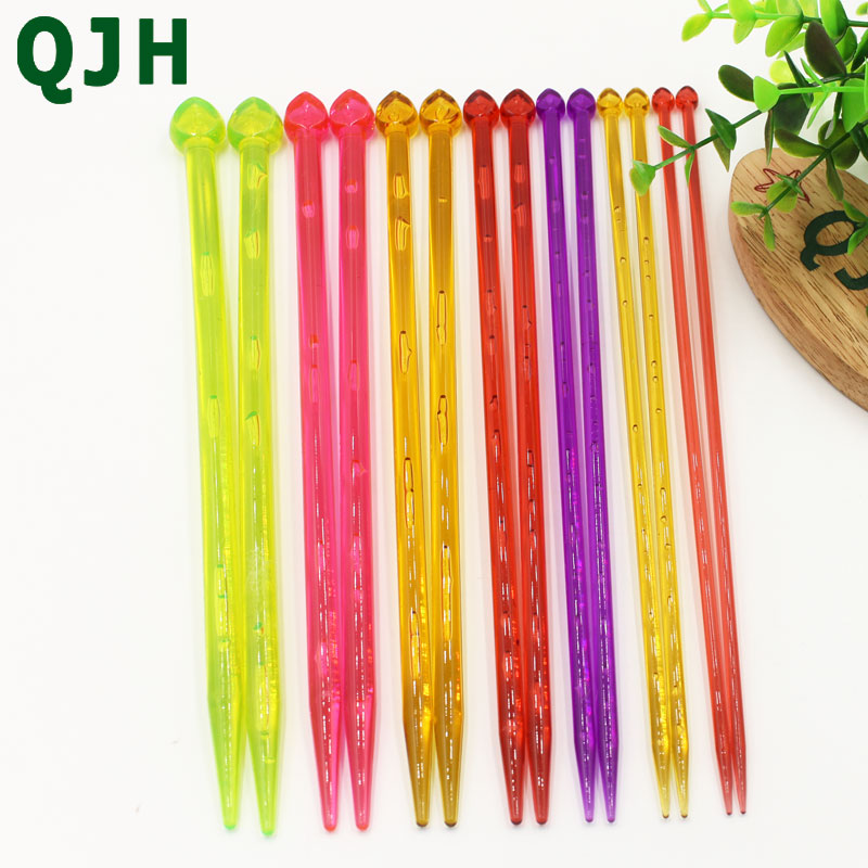QJH Brand 14pcs/set Multicolor High Quality Plastic Crystal Knitting Needles Weaving Tools Acrylic Needle For Scarf Sweater 26cm