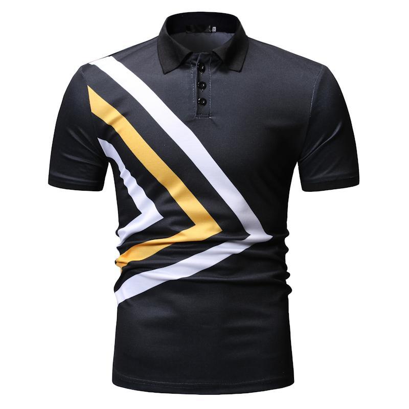 POLO   Shirt Men's Tops Casual Tees Stripe Fashion Men's Clothing Men   Polo   Shirt Lapel collar Short sleeve Summer
