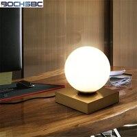 BOCHSBC Glass Lampshade Table Lamp For Bedroom Living Room Dinning Room Study Metal Base Desk Lights Modern Led Lampe de table