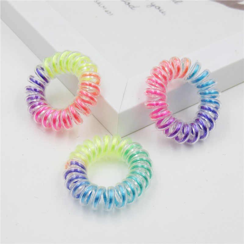 1 pçs arco-íris cor telefone linha acessórios para o cabelo feminino bandana, bandas elásticas para o cabelo para meninas, faixa de cabelo para crianças 2018