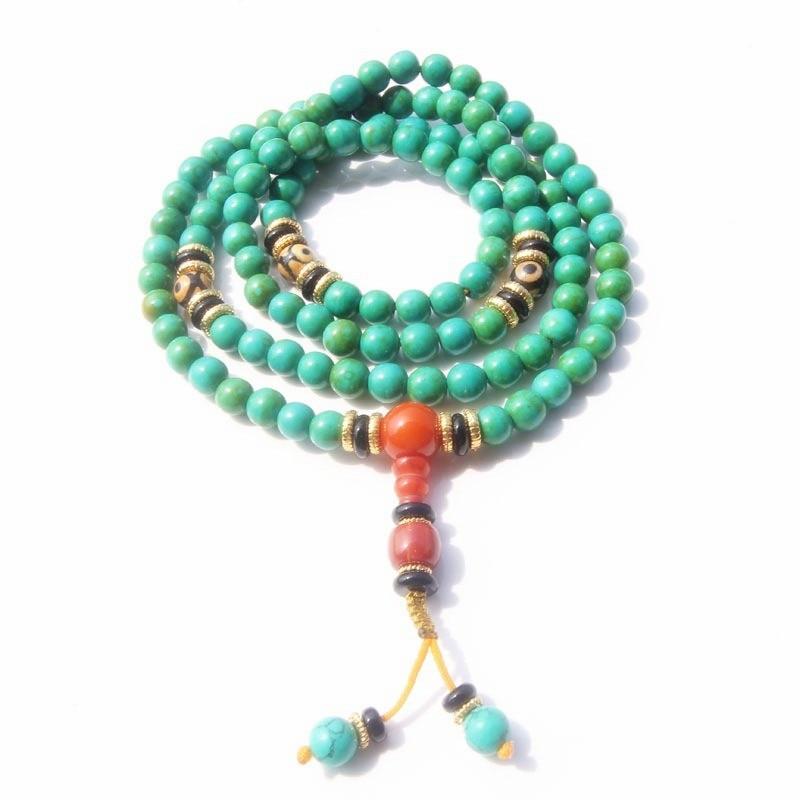 Sennier 8mm 108 natural stone beads bracelet tibetan Buddhist rosary mala prayer necklace meditation women fashion jewelry