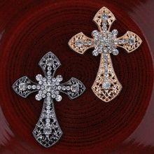30 unids/lote Vintage hecho a mano Metal Rhinestone Latino Botón de Cruz adornos de teléfono de aleación de cristal Flatback botones accesorios para el cabello