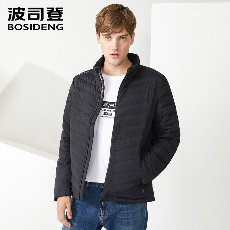 BOSIDENG Men's Down Jacket Short Lightweight Packable Standing Collar Down Coat For Early Winter B70132013