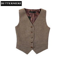 d55fb7fcaae4 BUTTERMERE Brand Clothing Women Suit Vest Woolen With Back Suede Waistcoat  Herringbone Chalecos Mujer Spring Ladies