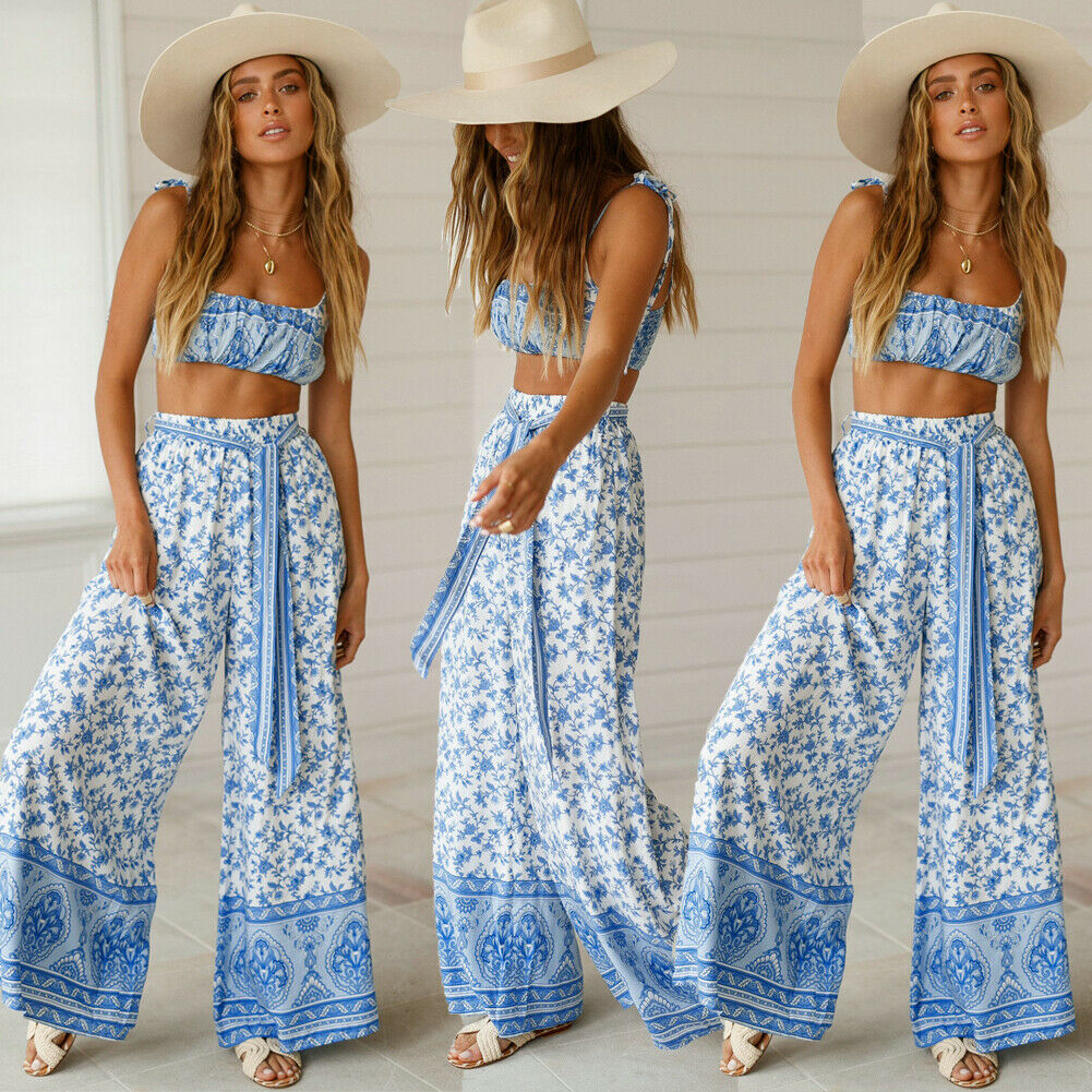 Women Sleeveless Crop Top Casual Loose Jumpsuit Long Pants Outfits 2pcs Cover-Ups Boho Style Playsuit