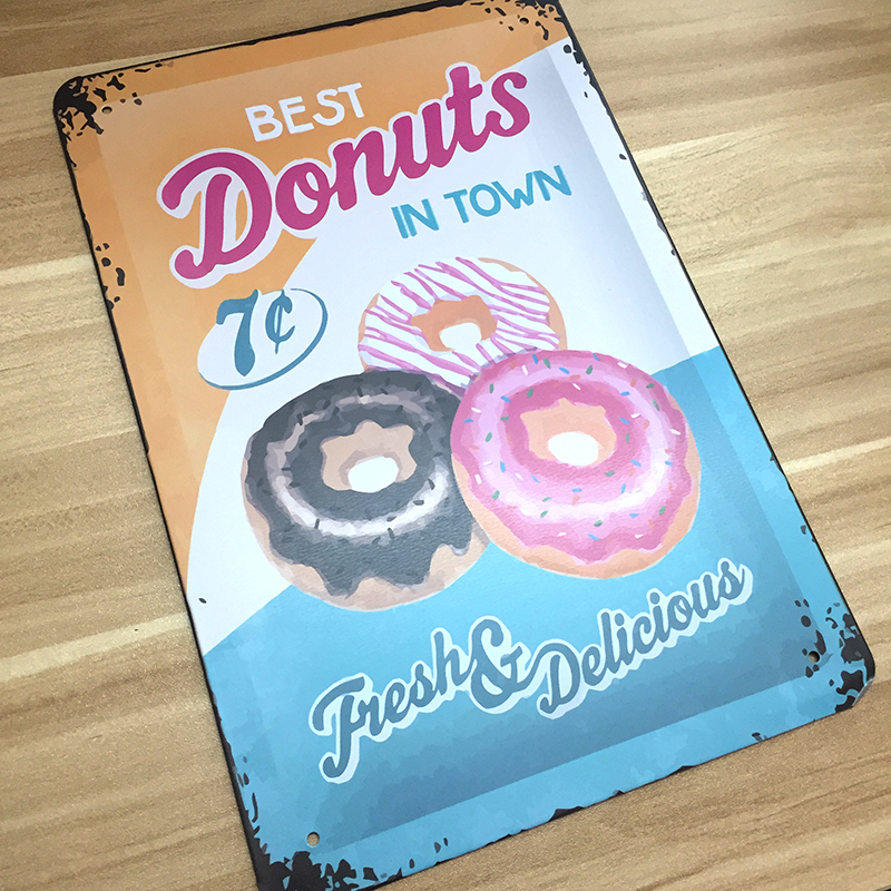 vintage home decor metal Tin signsfood donuts metal plaques decoration House for bar wall art craft vintage Metal plaque 20*30cm