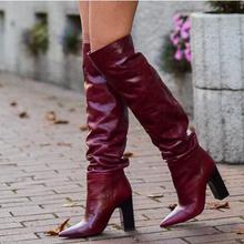 Прямая поставка; Брендовые женские кожаные сапоги бордового цвета с острым носком, на грубом каблуке, без шнуровки, с отворотами, выше колена; высокие сапоги на высоком каблуке; большой размер 43