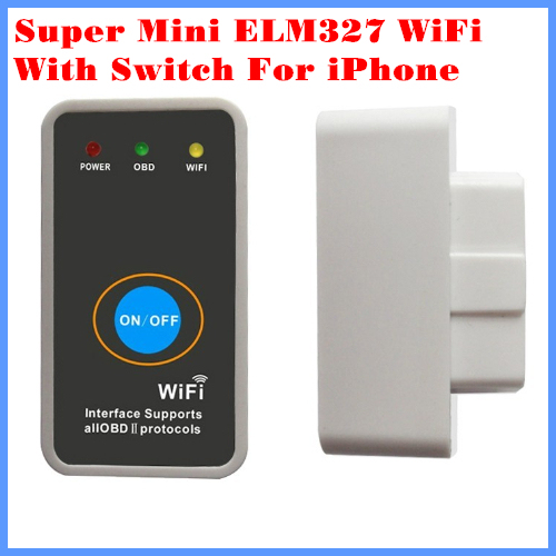 2013 New Arrival Code reader Diagnostic Tool Super mini ELM327 WiFi with Switch  work with iPhone OBD-II OBD Can