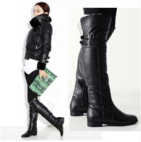 Large size 43 women shoes knee high boots buckle zipper Retro women's keep warm plush riding boots thick fur winter snow boots