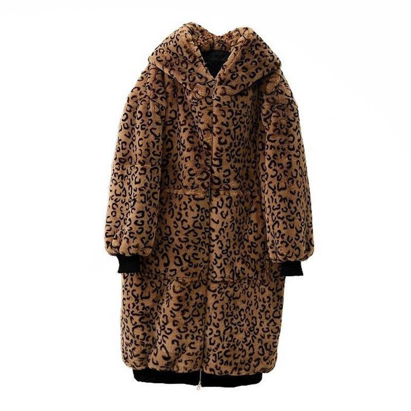 Manteau Long Épais A2357 Tops Leopard Vestes La Lapin Taille Fausse 16npwqz