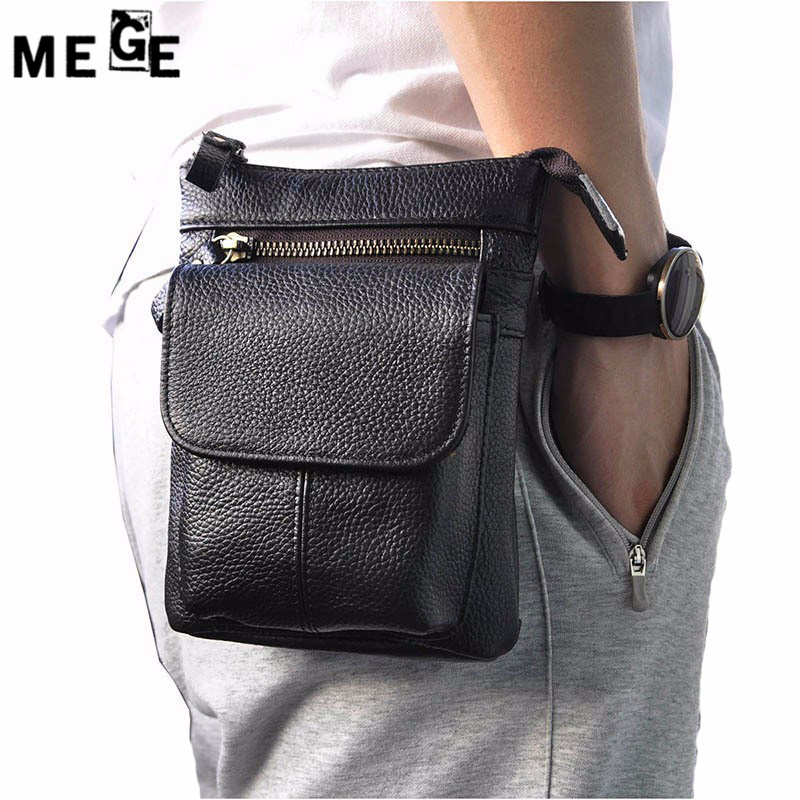 MEGE Unisex Multifunction Genuine Leather Travel bags Funny Leg pack Lelaki Waist Pack Waist Bag, Outdoor Sports EDC Pouch