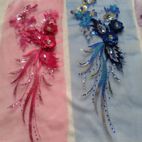 Wholesale Rhinestones Beads Embroidered Flowers Large Cloth Patch For Clothing Wedding Accessories