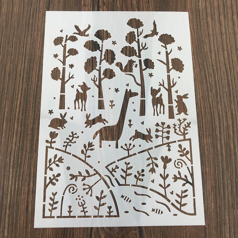 A4 Size Forest Animal DIY Craft Layering Stencils For Wall Painting Scrapbooking Stamp Album Decor Embossing Paper Card Template