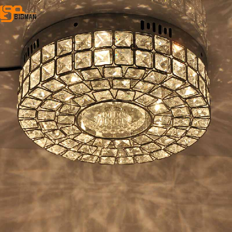 brief style crystal lamp modern chrome ceiling lights hallway light fixtures Dia30cm bedroom lamp