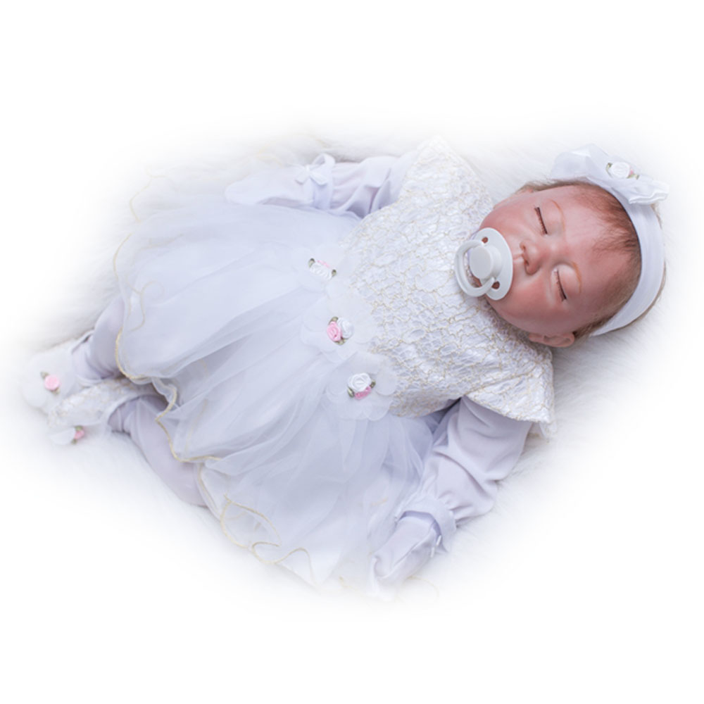 45-50CM Silicone Doll Reborn Baby girl realistic Handmade Cloth Body Reborn Babies Doll Toys Baby Growth Partners Best kids Gift partners cd