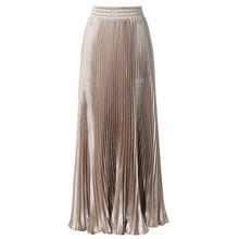 2016 Summer New Fashion Vintage Metallic Bling Bling Glitter Gold Pleated A Line Women Long Maxi Flare Skater Party Skirts