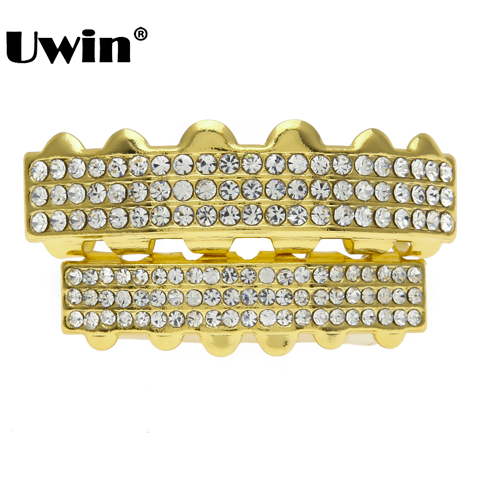2x Gold//Silver Grill Rapper Iced Out Tooth Plated Teeth Cap Grills Bling Hip Hop
