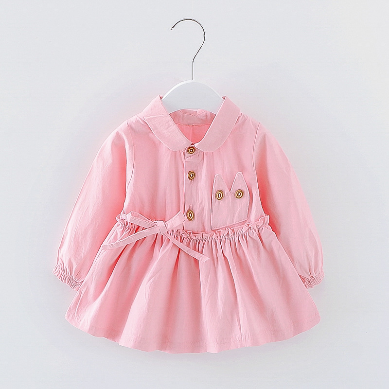 2017 Baby Girl Dress Casual 1-4 years Dress Girl Autumn Long Sleeved Birthday Princess Clothing Toddler Solid Bow Kids Clothes 2016 spring autumn children clothing new girls print flower long sleeved casual toddler girl turtleneck princess dress