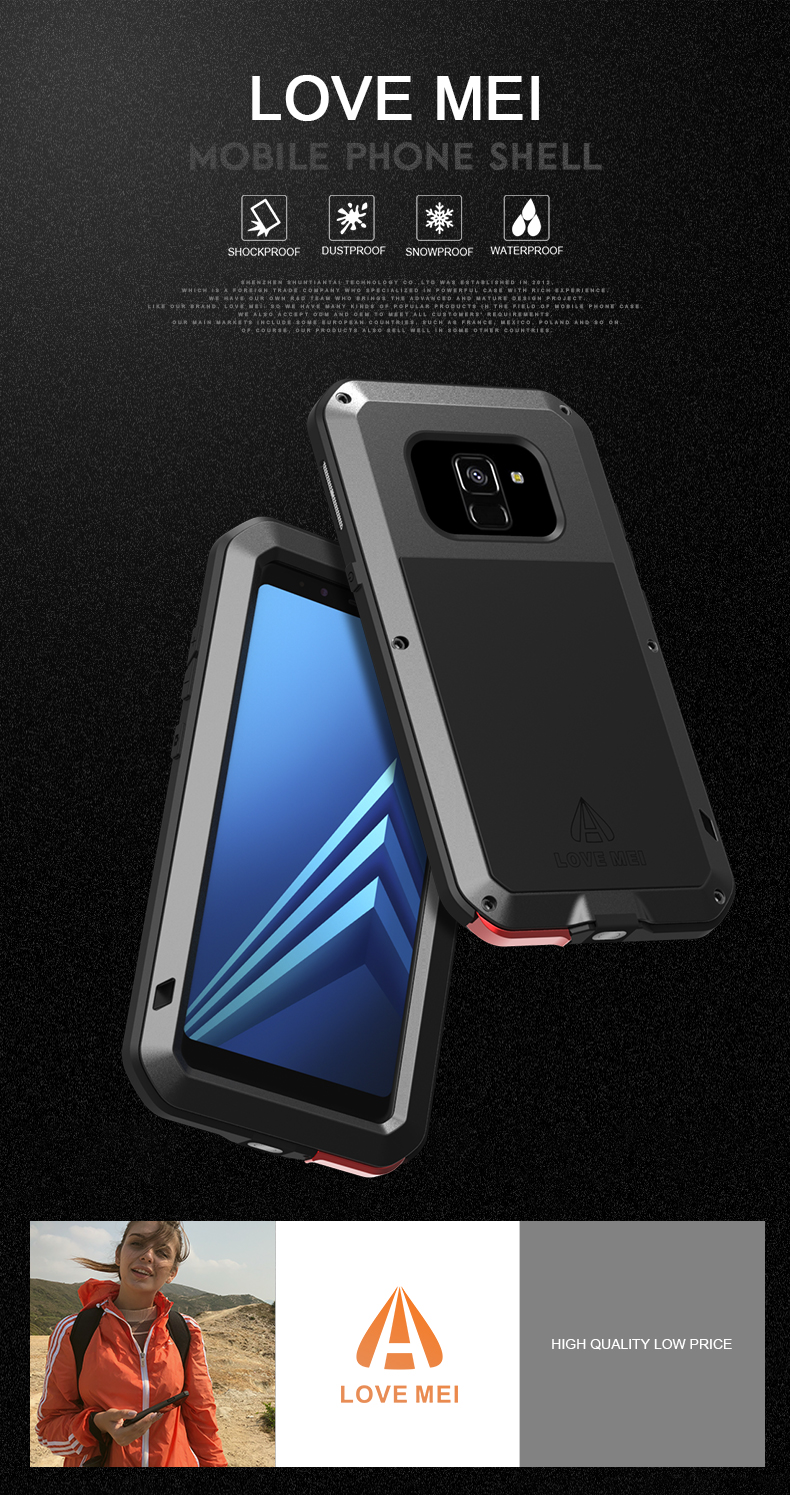 For Samsung Galaxy A8 2018 Case LOVE MEI Shock Dirt Proof Water Resistant Metal Armor Cover Phone Case for Galaxy A8 Plus 2018