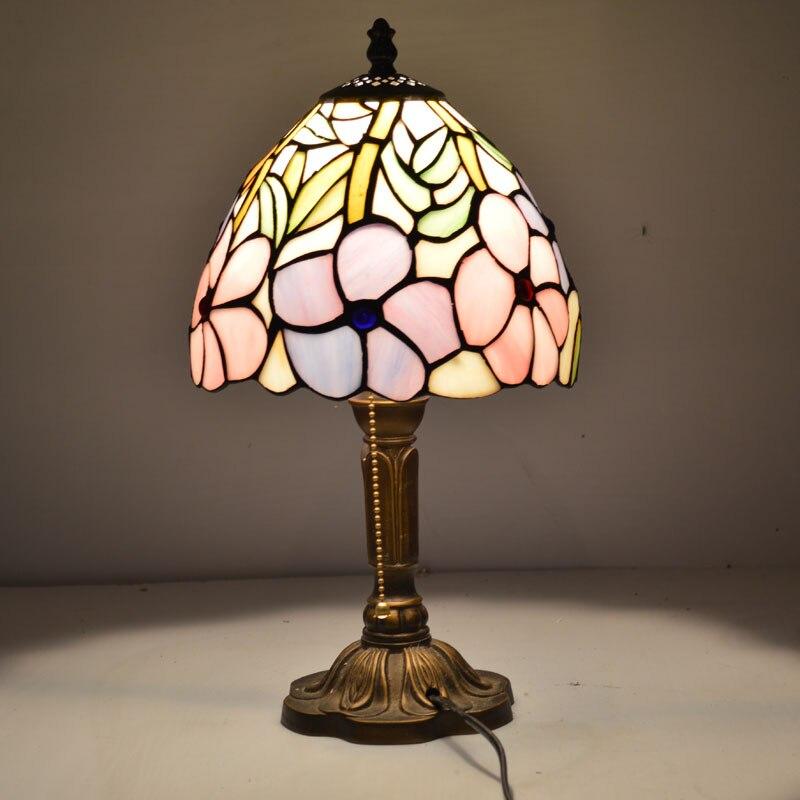 8 дюймов плоти страна цветы Тиффани настольные лампы страна Стиль пятнистости Стекло лампы для Спальня E27 110-240 В