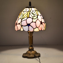 8 Inch Pink Lotus Flower Tiffany Table Lamp Country Style Stained Glass Bedside Lamparas de Mesa E27 110-240V