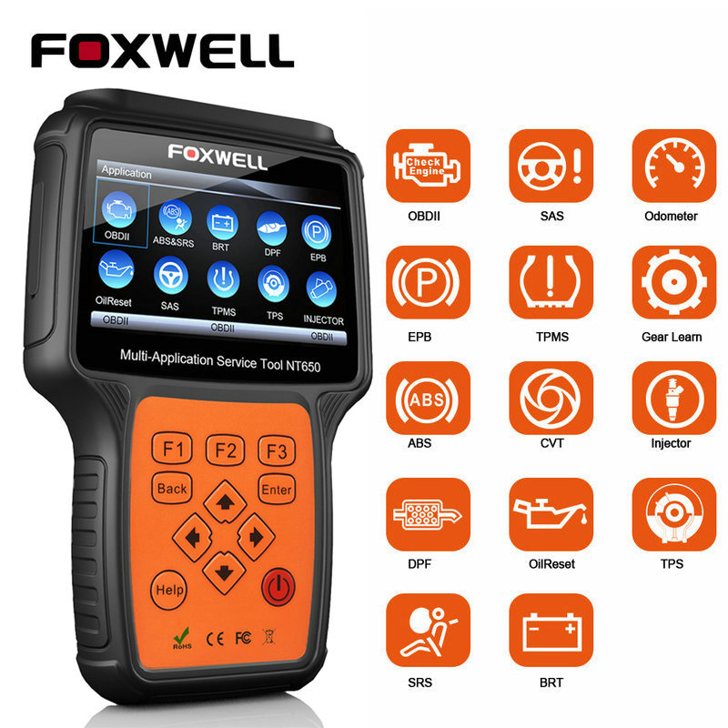 Foxwell NT650 OBD2 Car Diagnostic Tool ABS Airbag SAS EPB DPF TPMS Oil Reset Injector ODB2 Auto Scanner OBD 2 Automotive Scanner(China)